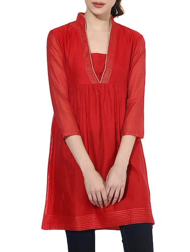 Bright red flared kurta - 14894744 - Standard Image - 1