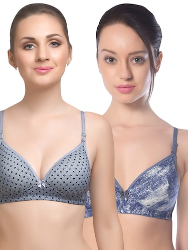 set of 2 multi colored cotton bra - 14894805 - Standard Image - 1