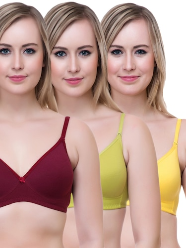 set of 3 multi colored cotton bra - 14894888 - Standard Image - 1