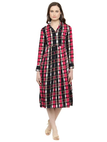 pink checkered fit & flare dress - 14895042 - Standard Image - 1
