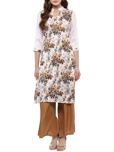 white silk blend straight kurta - 14895061 - Standard Image - 1