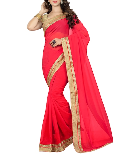 red georgette bordered saree with blouse - 14895219 - Standard Image - 1