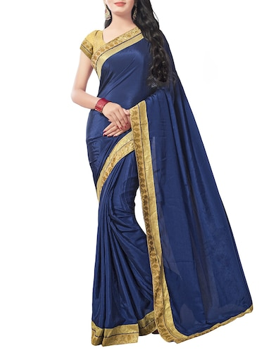 blue chiffon bordered saree with blouse - 14895229 - Standard Image - 1
