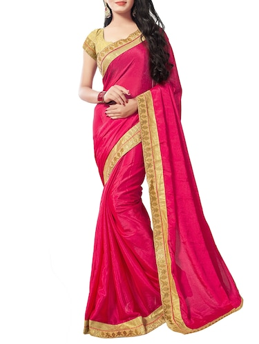 pink chiffon bordered saree with blouse - 14895230 - Standard Image - 1
