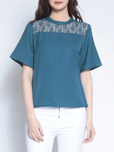 lace paneled short sleeved top - 14895286 - Standard Image - 1
