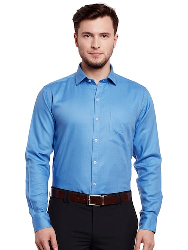 blue cotton formal shirt - 14895496 - Standard Image - 1
