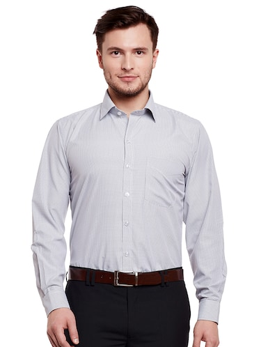 grey cotton formal shirt - 14895502 - Standard Image - 1
