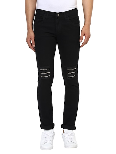 black cotton patched jeans - 14895557 - Standard Image - 1
