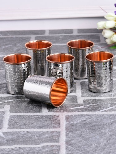 Copper Hammered Glasses (Set of 6) - 14895565 - Standard Image - 1