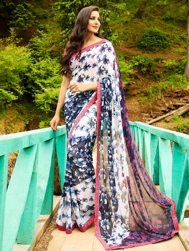 white georgette printed saree with blouse - 14895777 - Standard Image - 1