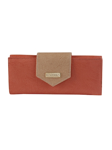brown leatherette fold over clutch - 14895963 - Standard Image - 1