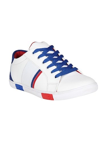 white leatherette lace up sneaker - 14896084 - Standard Image - 1