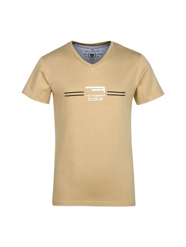 beige cotton t-shirt - 14896195 - Standard Image - 1