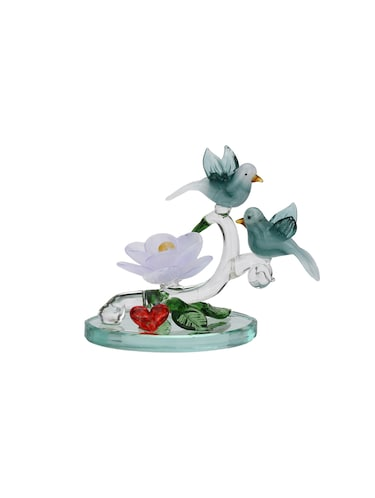 Somil Attractive Beautiful Couple Of Sparrow With Red Heart & White Lily Decorative Showpiece - 14896231 - Standard Image - 1