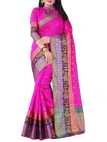 pink silk blend chanderi saree with blouse - 14896681 - Standard Image - 1