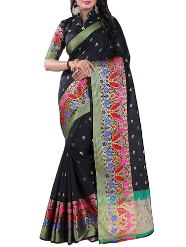 black silk blend chanderi saree with blouse - 14896704 - Standard Image - 1