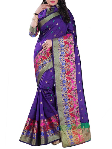 purple chanderi saree with blouse - 14896705 - Standard Image - 1