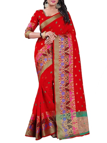 red silk blend chanderi saree with blouse - 14896707 - Standard Image - 1