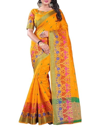 yellow silk blend chanderi saree with blouse - 14896708 - Standard Image - 1