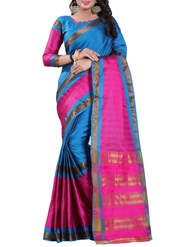 blue silk blend chanderi saree with blouse - 14896710 - Standard Image - 1