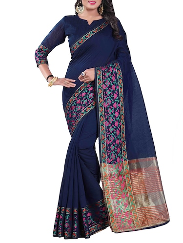 blue silk blend chanderi saree with blouse - 14896716 - Standard Image - 1