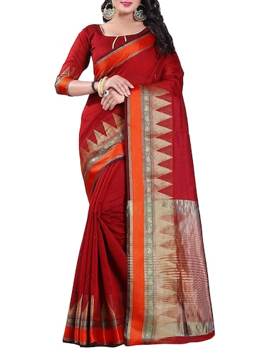 maroon silk blend chanderi saree with blouse - 14896718 - Standard Image - 1