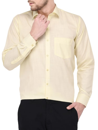 yellow cotton formal shirt - 14896728 - Standard Image - 1