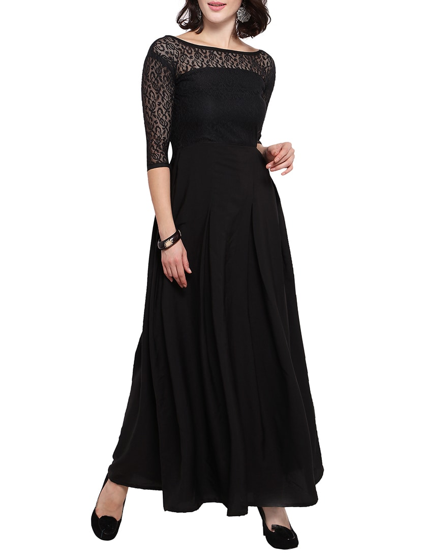 Buy Black Solid Gown Dress by Sheetal Associates - Online shopping ...