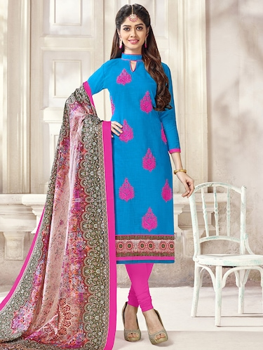 Embroidered unstitched churidaar suit - 14898054 - Standard Image - 1