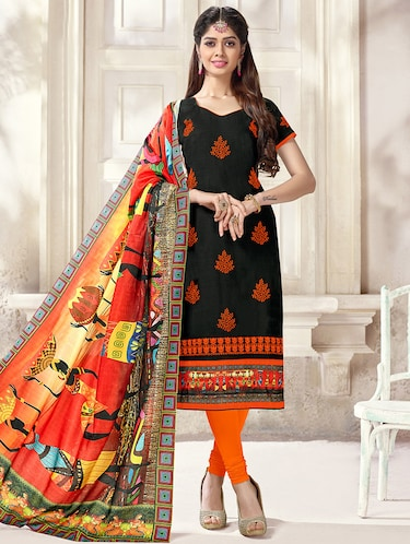 Embroidered unstitched churidaar suit - 14898055 - Standard Image - 1