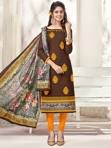 Embroidered unstitched churidaar suit - 14898059 - Standard Image - 1
