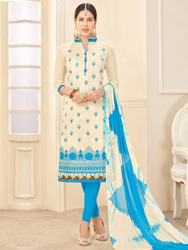 Embroidered unstitched churidaar suit - 14898087 - Standard Image - 1