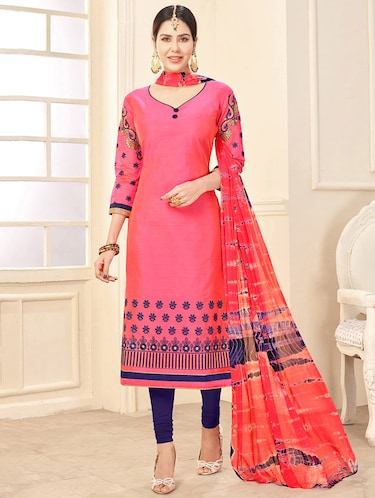 Embroidered unstitched churidaar suit - 14898091 - Standard Image - 1