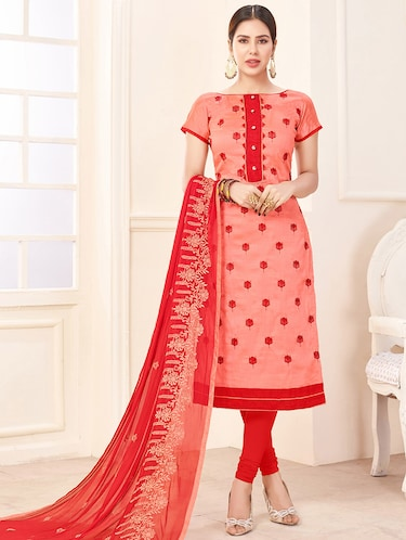 Embroidered unstitched churidaar suit - 14898122 - Standard Image - 1