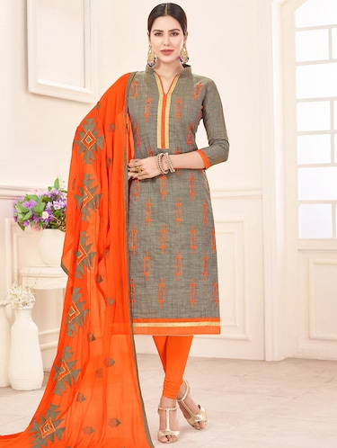 Embroidered unstitched churidaar suit - 14898124 - Standard Image - 1