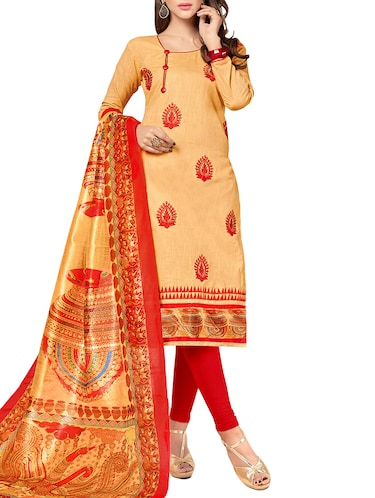 beige cotton unstitched churidaar suit - 14898152 - Standard Image - 1