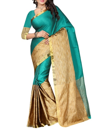 turquoise cotton woven saree with blouse - 14898311 - Standard Image - 1