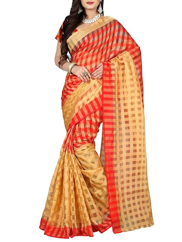 red cotton silk woven saree with blouse - 14898346 - Standard Image - 1