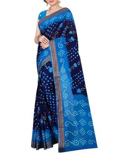 blue cotton bandhani saree with blouse - 14898420 - Standard Image - 1