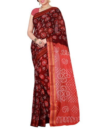 brown cotton bandhani saree with blouse - 14898421 - Standard Image - 1