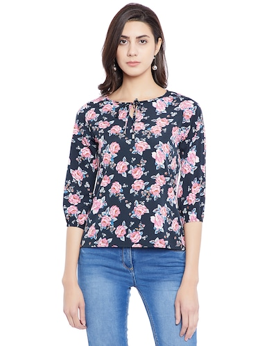 navy blue floral casual top - 14898432 - Standard Image - 1