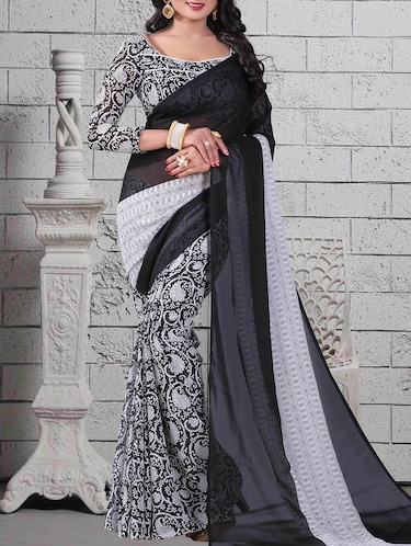 black georgette printed saree with blouse - 14898557 - Standard Image - 1