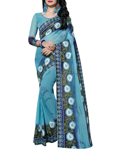 sky blue chiffon embroidered saree with blouse - 14898837 - Standard Image - 1