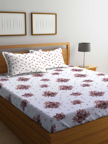 Cotton 160 TC Double Bedsheet With 2 Pillow Covers - 14898852 - Standard Image - 1