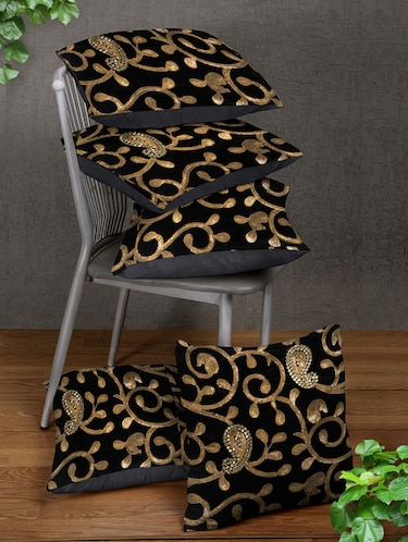 Black Set of 5 Cushion Covers - 14898867 - Standard Image - 1