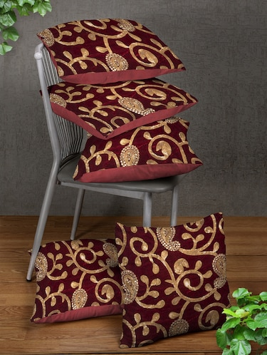Red Set of 5 Cushion Covers - 14898868 - Standard Image - 1
