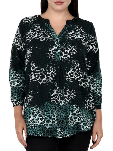 green printed plus tunic - 14898873 - Standard Image - 1