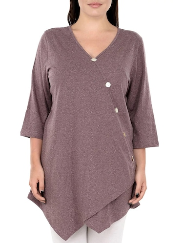 Purple solid plus tunic - 14898882 - Standard Image - 1