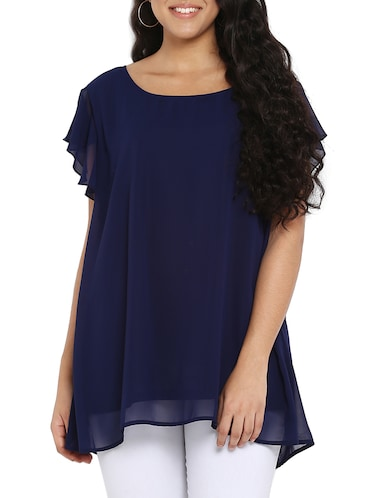 navy blue georgette plus tunic - 14898925 - Standard Image - 1