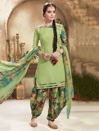 Green cotton unstitched suit - 14898978 - Standard Image - 1